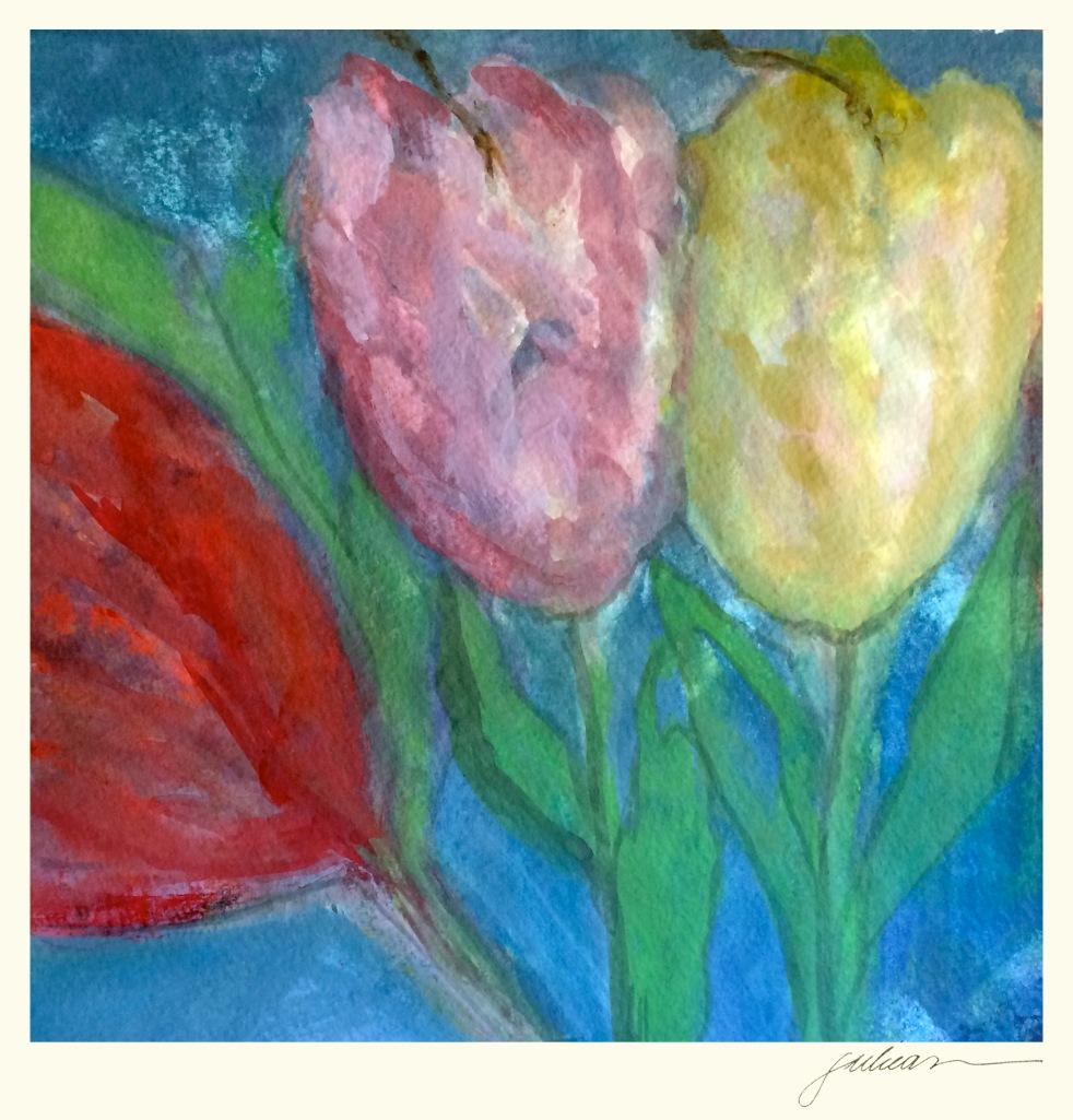 """oscar three-lips"" 8"" x 8"" framed watercolor SOLD"